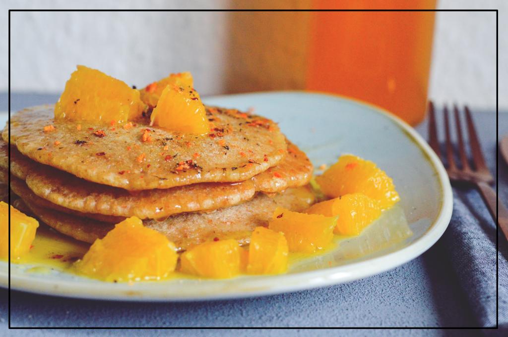 Rezept für Vegane Pancakes mit Orangensoße